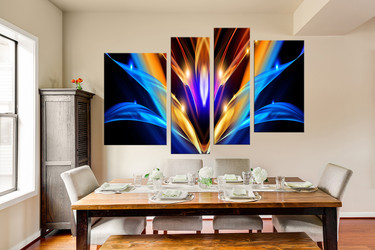 4 piece canvas wall art, dining room wall art, modern wall art, abstract colorful artwork
