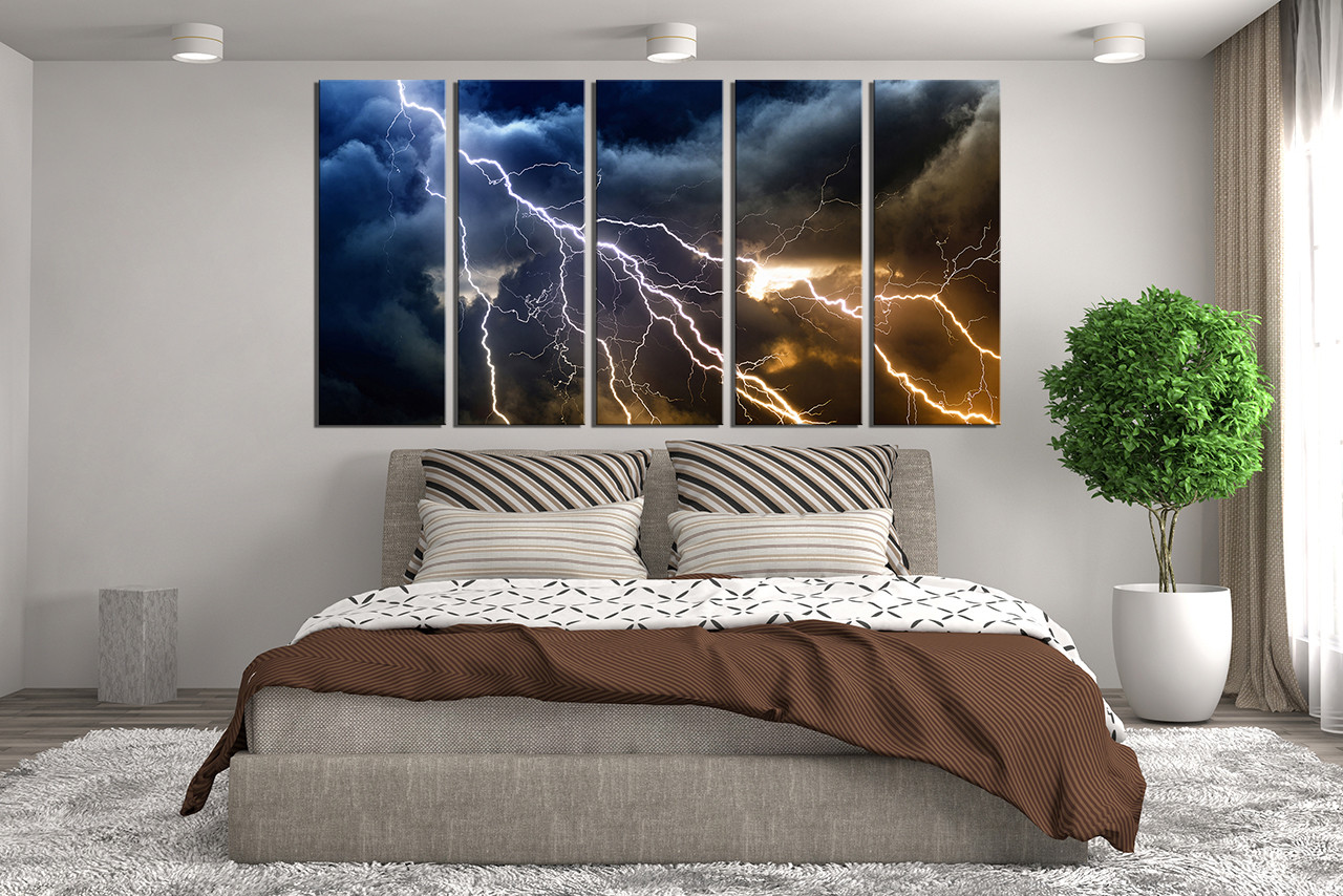 5 Piece Photo Canvas, Bedroom Multi Panel Art, Thunderstorm Huge Pictures,  Blue Wall