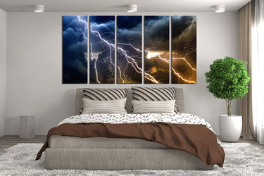 5 piece photo canvas, bedroom multi panel art, thunderstorm huge pictures, blue wall art, clouds huge canvas print