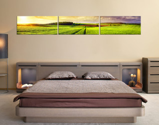 3 piece art, bedroom multi panel art, scenery photo canvas, green large pictures, scenery wall decor, panoramic canvas art prints