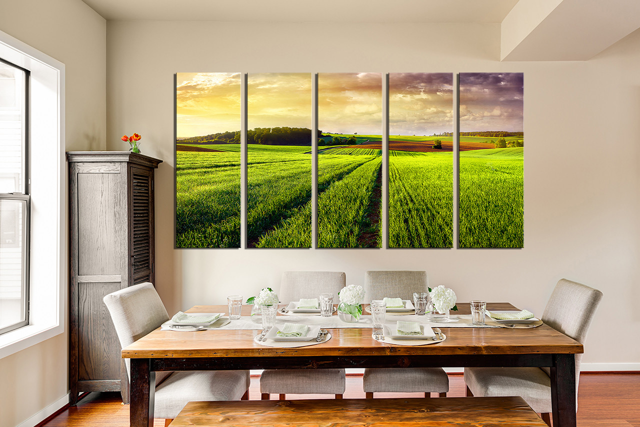 Nature Canvas Wall Art 5 piece huge pictures, green photo canvas, scenery canvas art