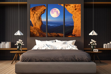 3 piece canvas photography, bedroom group canvas, landscape huge pictures, moon multi panel canvas, landscape canvas print, mountain canvas art prints