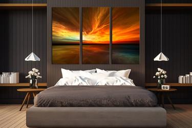 3 piece canvas wall art, orange multi panel canvas, bedroom wall decor, sea artwork, ocean wall art