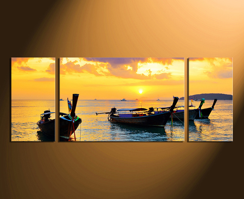 3 Piece Multi Panel Canvas, Yellow Ocean Canvas Photography, Boat ...