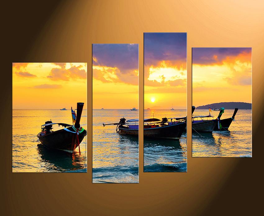 4 Piece Canvas Print, Boat Canvas Photography, Yellow Sea Artwork ...