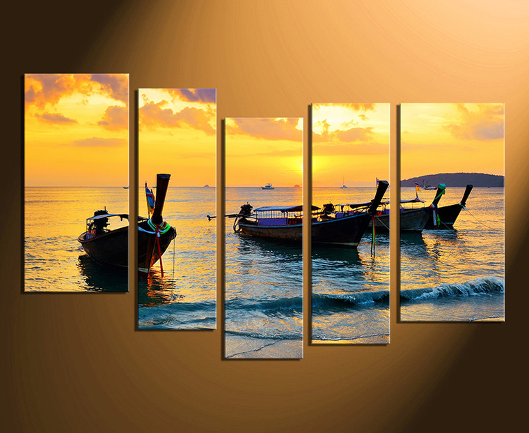 5 Piece Large Pictures, Boats Wall Art, Yellow Multi Panel Canvas ...