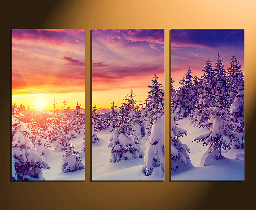 3 Piece Canvas Wall Art Home Decor Scenery Large Pictures Sunrise Multi Panel