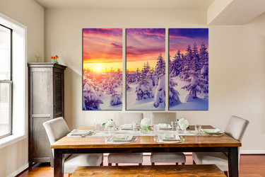 3 piece photo canvas, dining room canvas art prints, sunrise huge canvas art, snow wall art, white canvas print