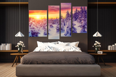 4 piece huge canvas art, bedroom canvas art prints, sunrise group canvas, snow art, white wall decor
