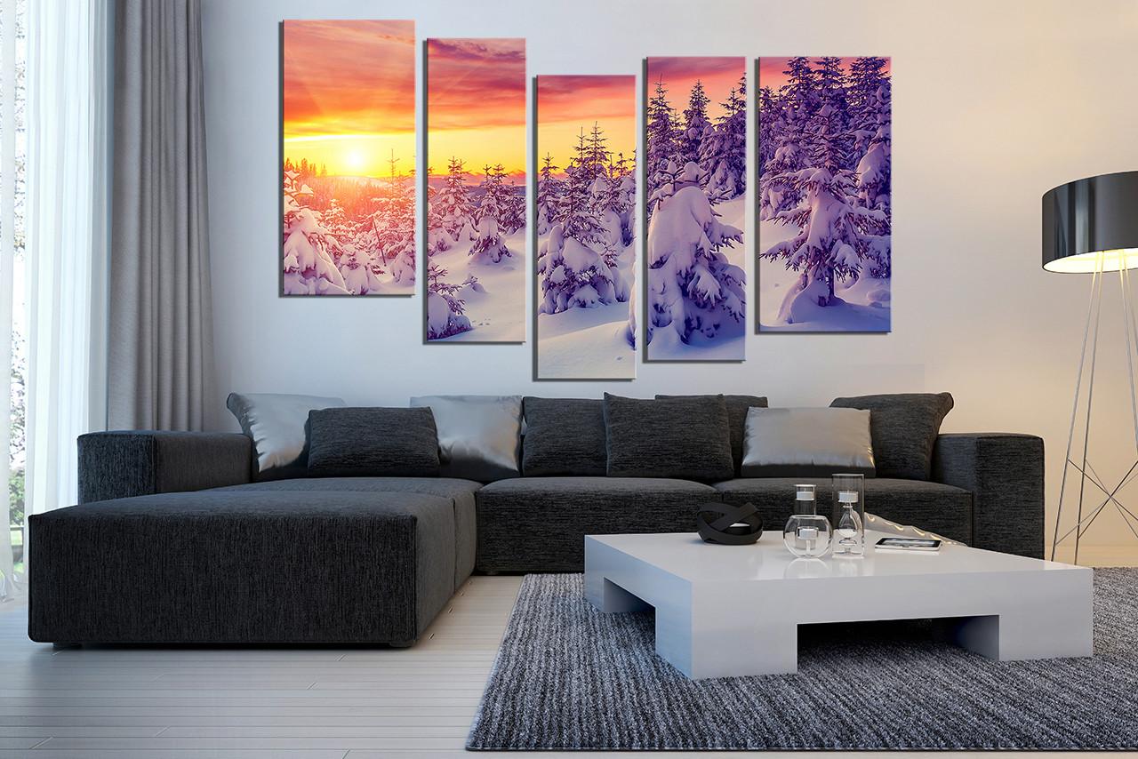 5 Piece Huge Canvas Print, Living Room Photo Canvas, Scenery Art, Sunrise  Canvas