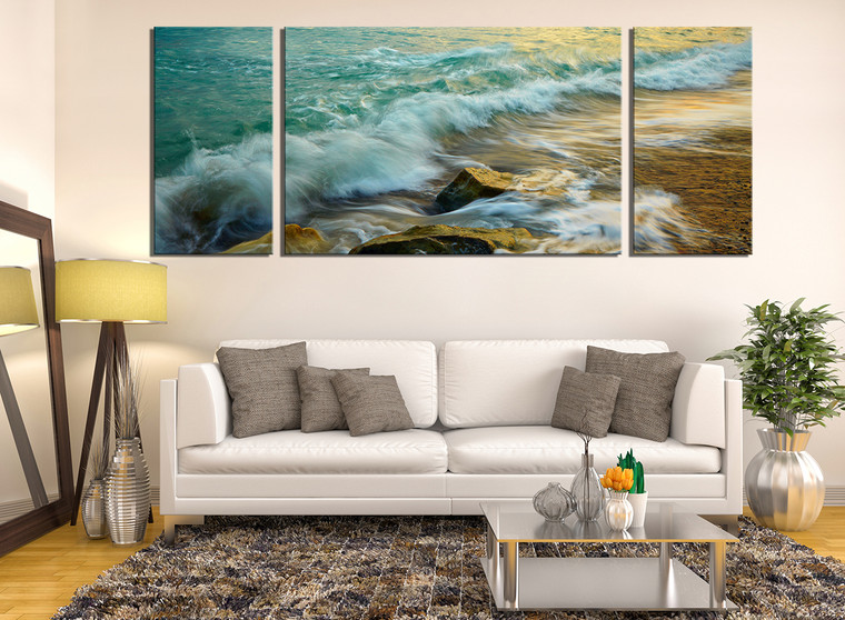 3 piece wall decor panoramic canvas photography green