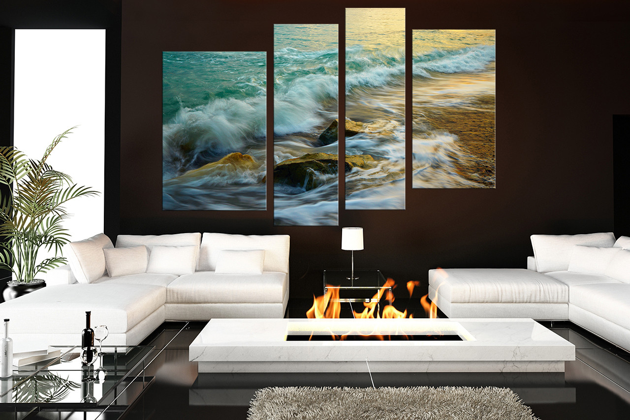 4 Piece Huge Canvas Print, Green Ocean Multi Panel Canvas, Sea ...