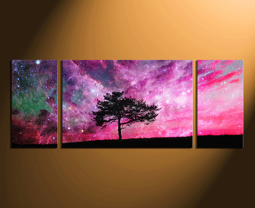 3 piece artwork purple wall art tree photo canvas stars large canvas nature canvas. Black Bedroom Furniture Sets. Home Design Ideas