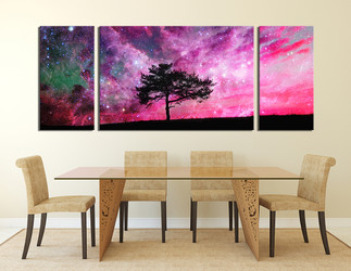 3 piece photo canvas, dining room canvas wall art, purple canvas print, nature huge canvas print, scenery artwork