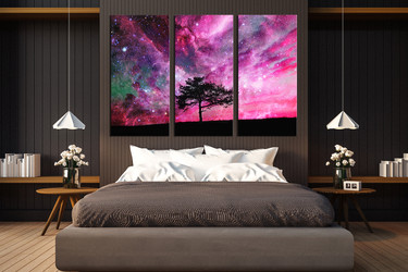 3 piece huge pictures, bedroom photo canvas, scenery multi panel canvas, purple huge canvas art, tree canvas art prints