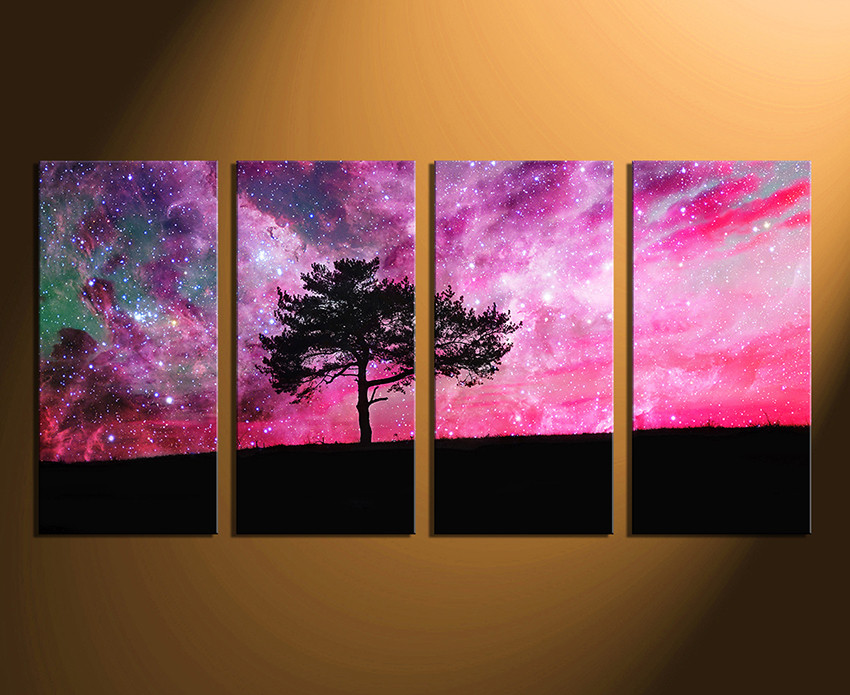 Purple Canvas Wall Art 4 piece canvas wall art, tree canvas photography, purple canvas