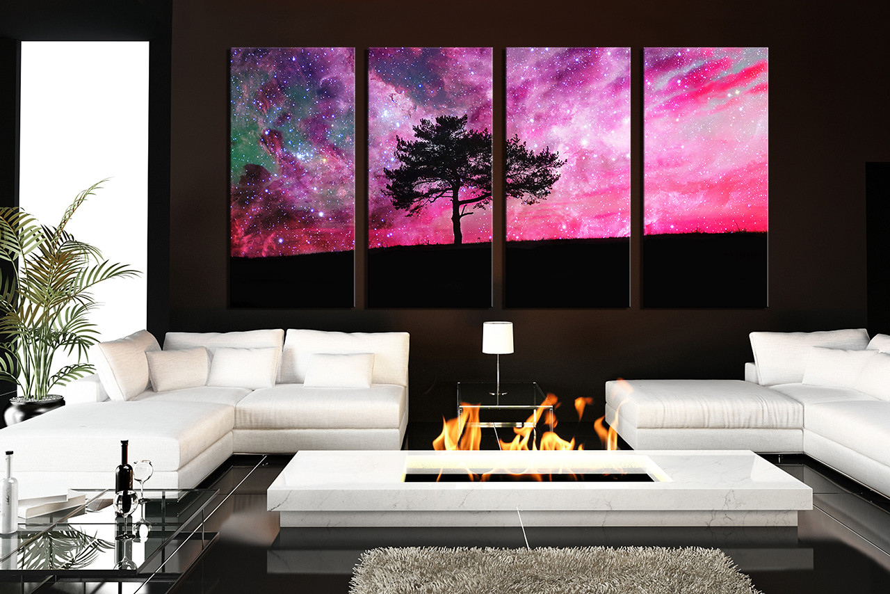 4 Piece Canvas Art Prints, Living Room Artwork, Scenery Wall Art, Purple  Large