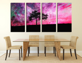 4 piece wall art, dining room multi panel art, scenery large canvas, purple canvas print, tree art