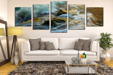 5 piece canvas photography, living room canvas art prints, green sea artwork, rock multi panel art