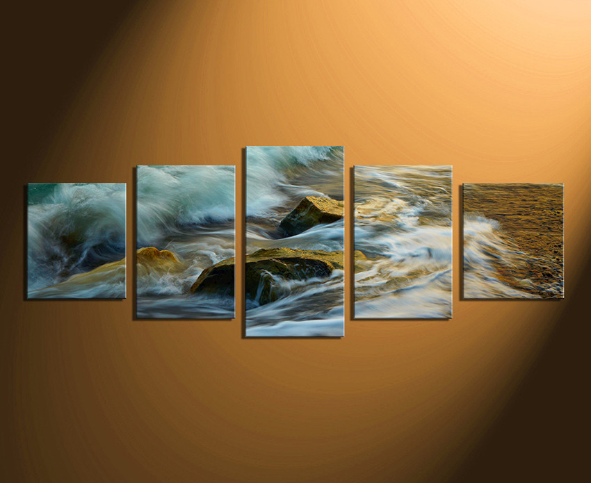 5 Piece Canvas Wall Art, Green Sea Canvas Print, Panoramic Multi ...
