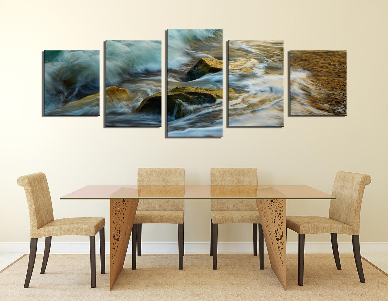 5 Piece Huge Canvas Art Dining Room Wall Decor Green Sea Photography