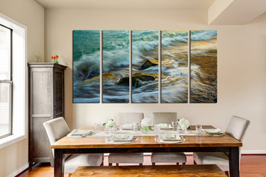 5 piece photo canvas, dining room canvas print, green sea artwork, rock multi panel canvas