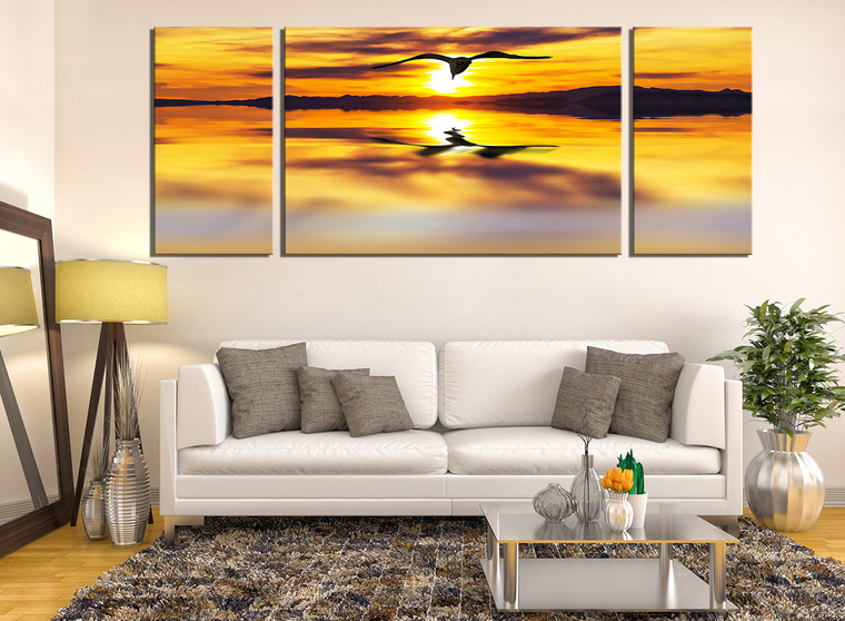 3 piece canvas wall art wildlife wall decor yellow huge. Black Bedroom Furniture Sets. Home Design Ideas