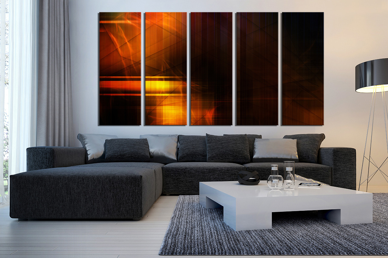5 Piece Canvas Wall Art 5 piece large canvas, abstract canvas wall art, orange multi panel