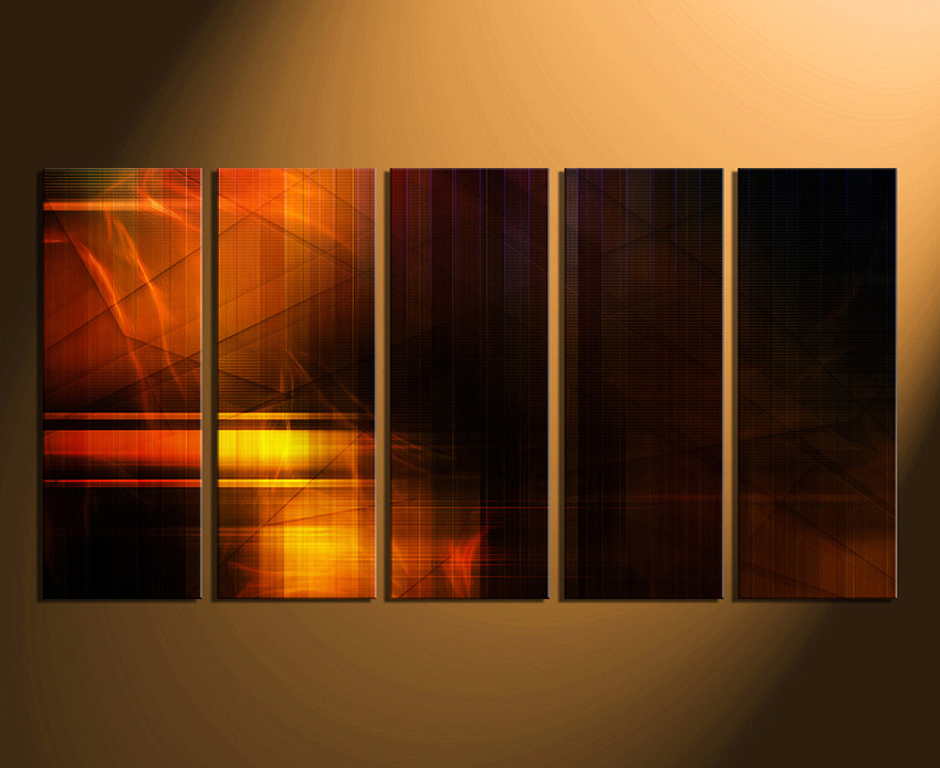 5 Piece Wall Art, Modern Wall Decor, Orange Modern Canvas Print, Orange Huge Part 54