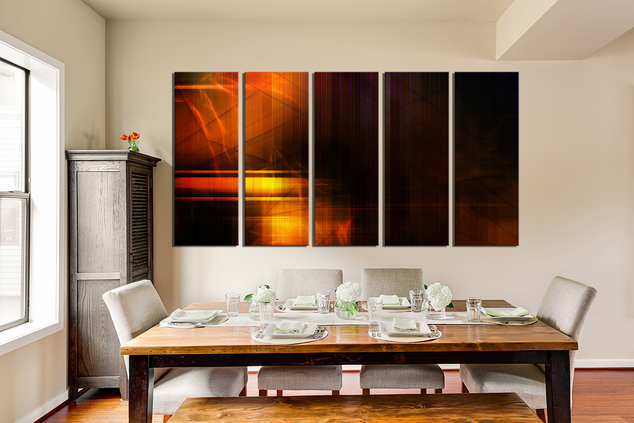 5 Piece Large Canvas, Dining Room Photo Canvas, Modern Wall Art, Abstract  Group