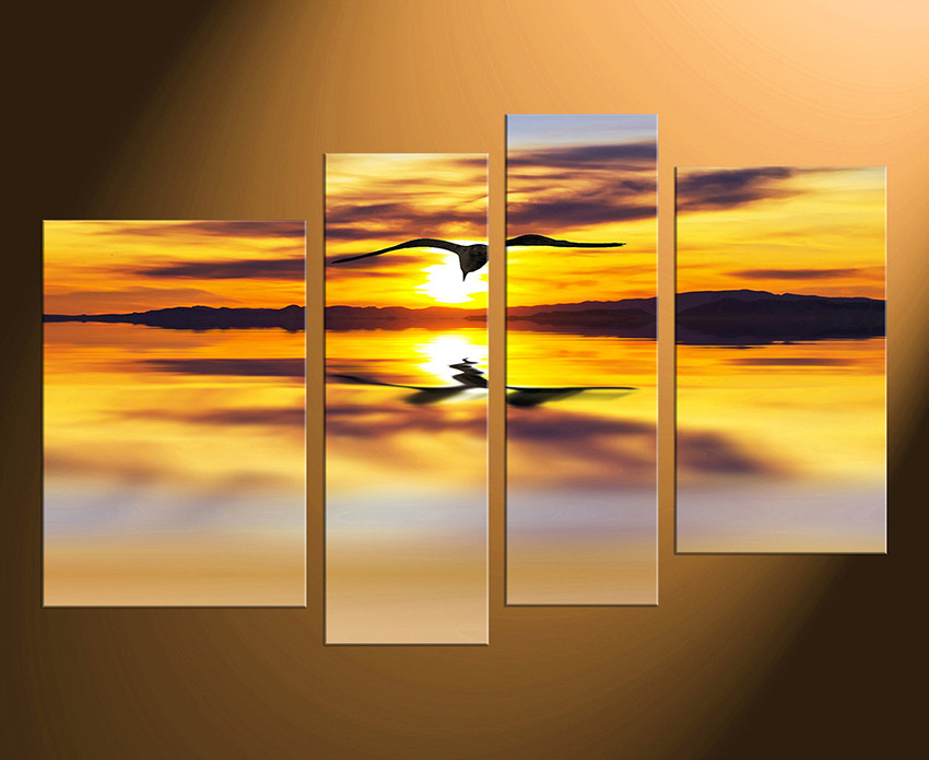 4 Piece Huge Canvas Print, Wildlife Large Pictures, Yellow Canvas ...