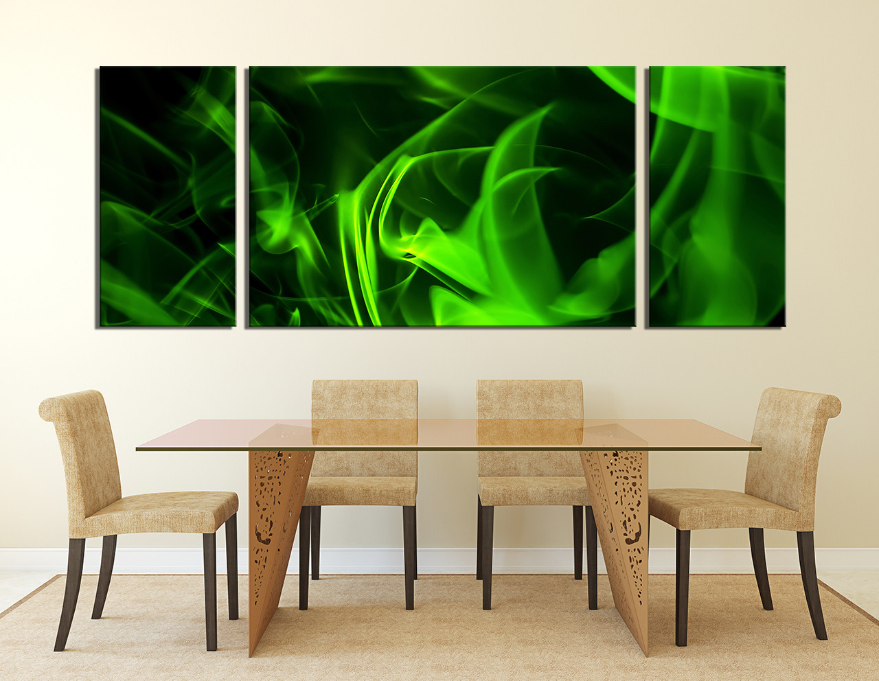 Large Modern Wall Art 3 piece huge canvas art, green canvas photography, modern canvas