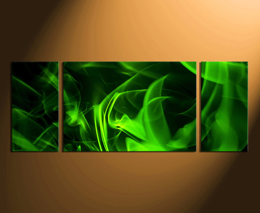 Panoramic Wall Art 3 piece huge canvas art, green canvas photography, modern canvas