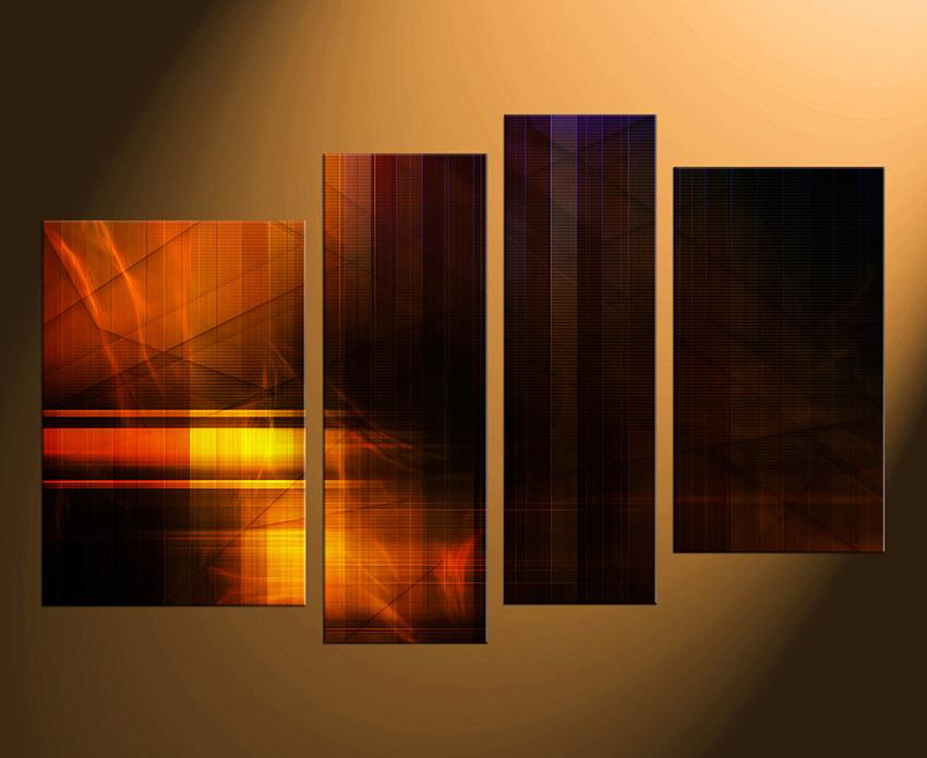 4 Piece Multi Panel Art, Modern Canvas Art Prints, Orange Huge ...