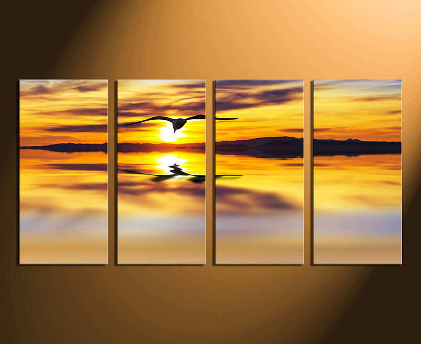 4 Piece Large Pictures, Wildlife Canvas Print, Yellow Photo Canvas ...