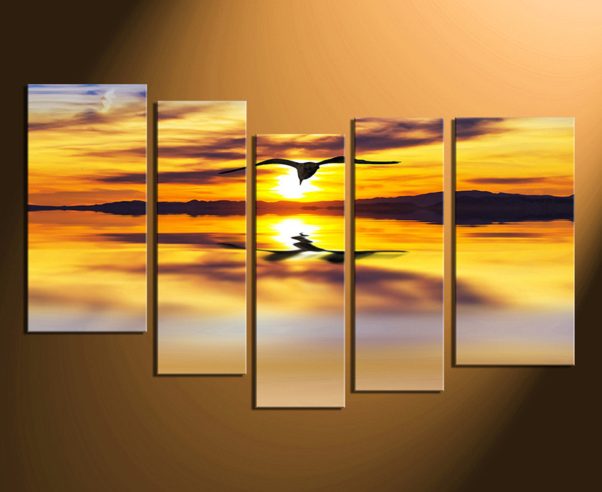 5 Piece Huge Canvas Print, Wildlife Canvas Wall Art, Yellow Large ...