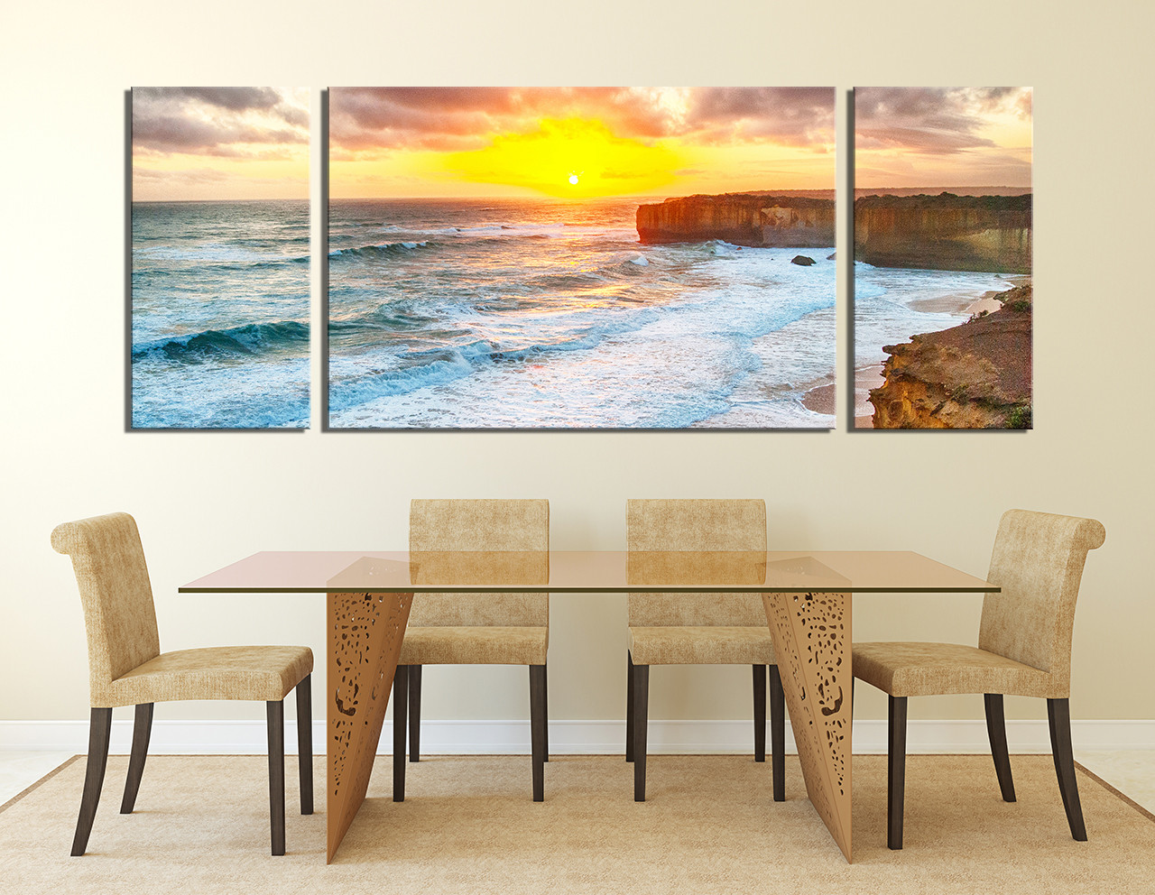 3 piece photo canvas ocean huge canvas print sea multi panel canvas panoramic canvas. Black Bedroom Furniture Sets. Home Design Ideas