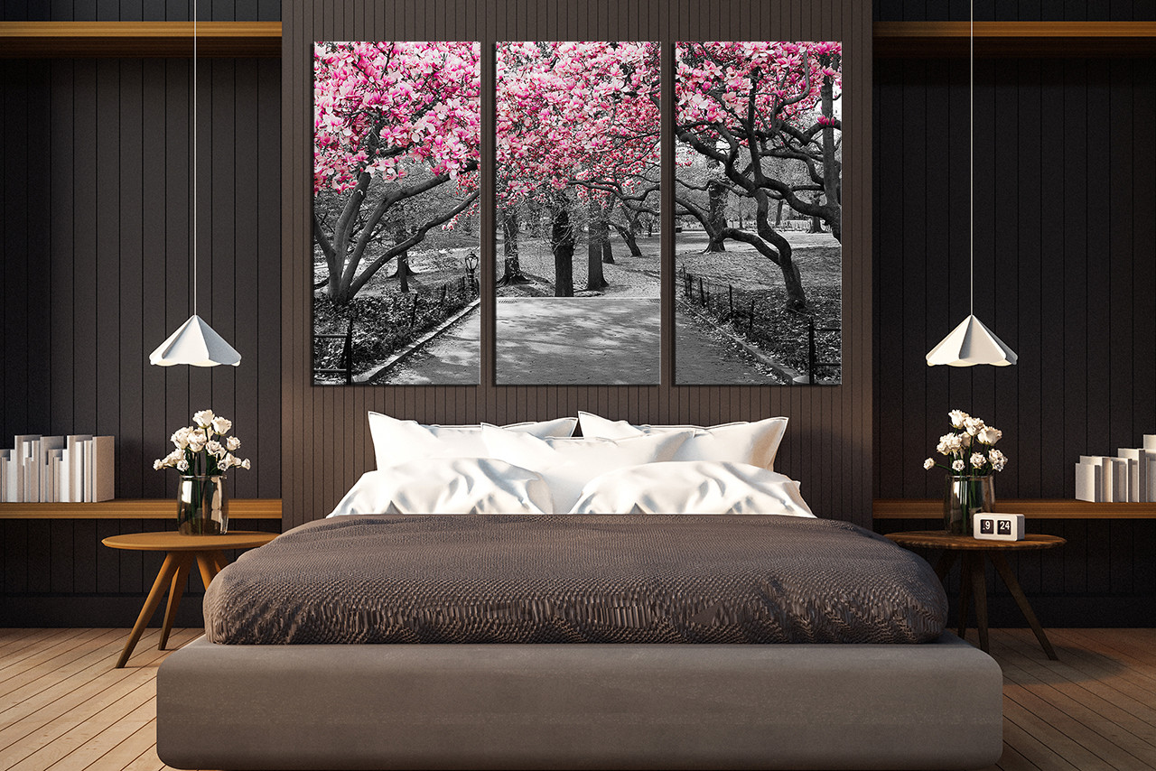 3 piece canvas photography  bedroom artwork scenery photo grey art prints and silver