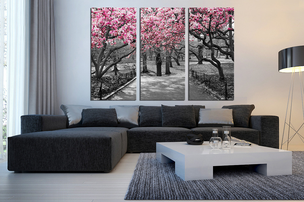 3 Piece Photo Canvas, Living Room Large Pictures, Scenery Artwork, Grey  Canvas Wall