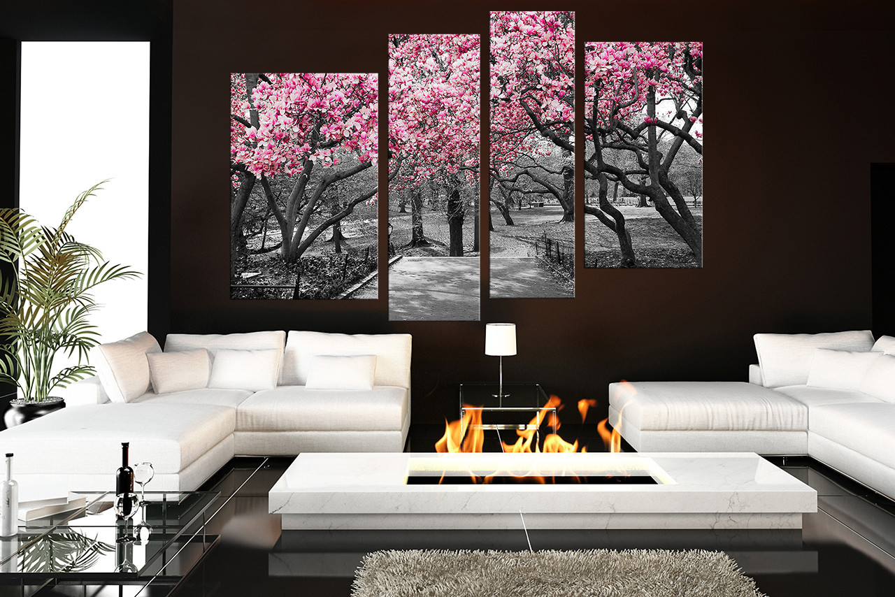 Purple And Grey Wall Art 4 piece wall decor, scenery wall art, grey canvas art prints, tree