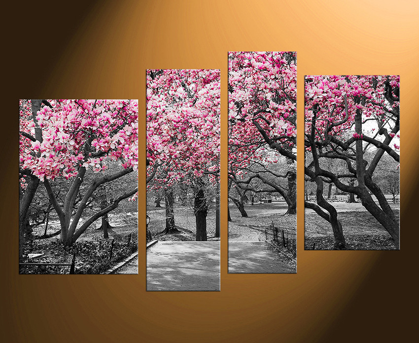 Canvas Wall Decor 4 piece wall decor, scenery wall art, grey canvas art prints, tree