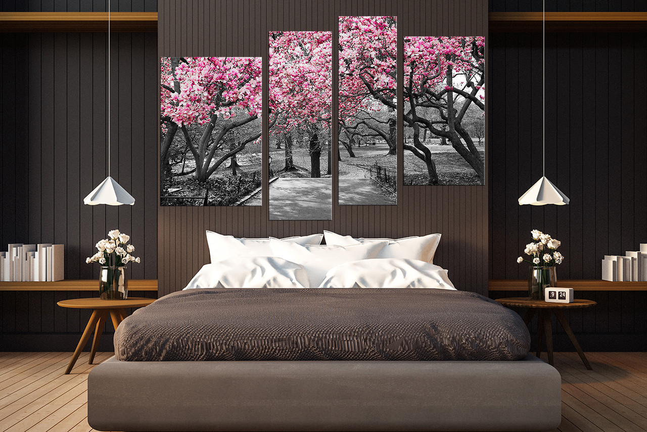 Piece Wall Decor Scenery Wall Art Grey Canvas Art Prints Tree - Wall decor canvas