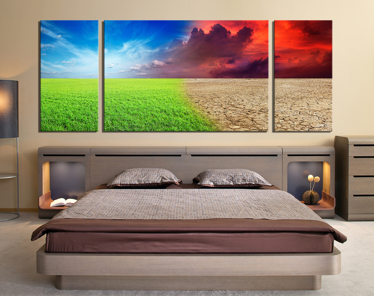 3 piece wall decor, colorful multi panel canvas, scenery canvas