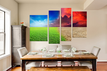 4 piece canvas wall art, dining room wall decor, scenery huge canvas print, colorful art, nature multi panel canvas