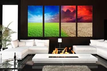 4 piece canvas wall art, living room wall art, scenery canvas print,  scenery colorful art, grass large pictures