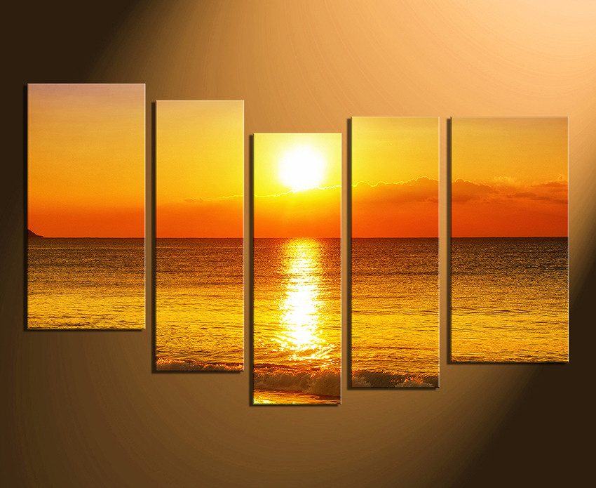 5 Piece Canvas Photography, Orange Sea Wall Decor, Ocean Multi Panel ...