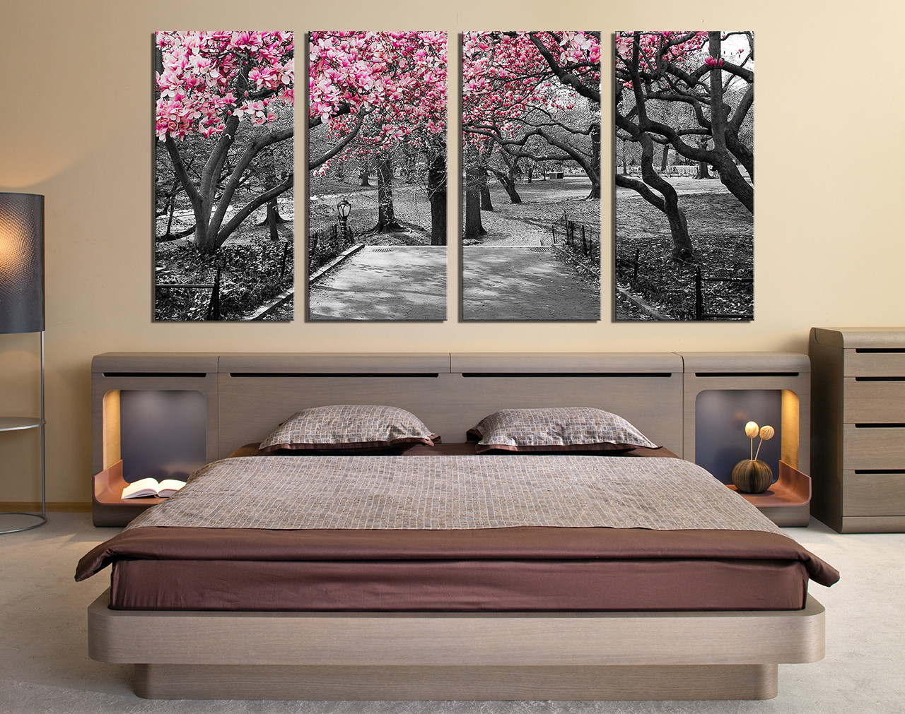 4 Piece Canvas Art Prints, Bedroom Canvas Wall Art, Grey Group Canvas, Tree