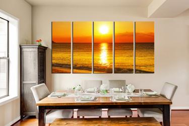 5 piece canvas art prints, dining room wall decor, orange ocean artwork, sunrise multi panel canvas