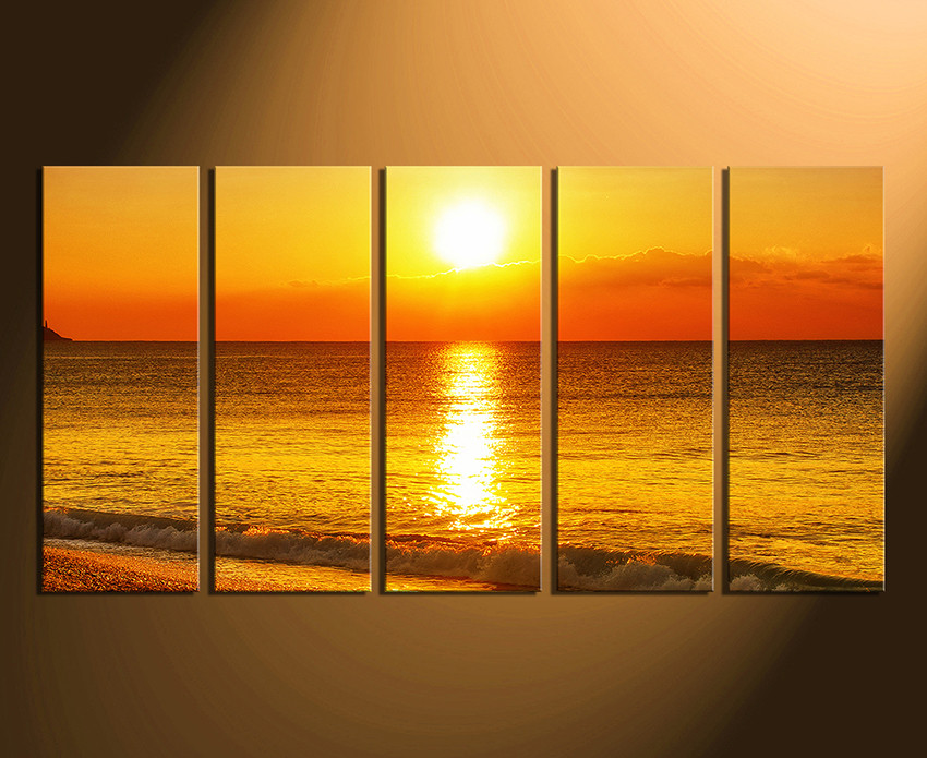 5 Piece Huge Canvas Print, Sea Large Pictures, Ocean Canvas Wall ...