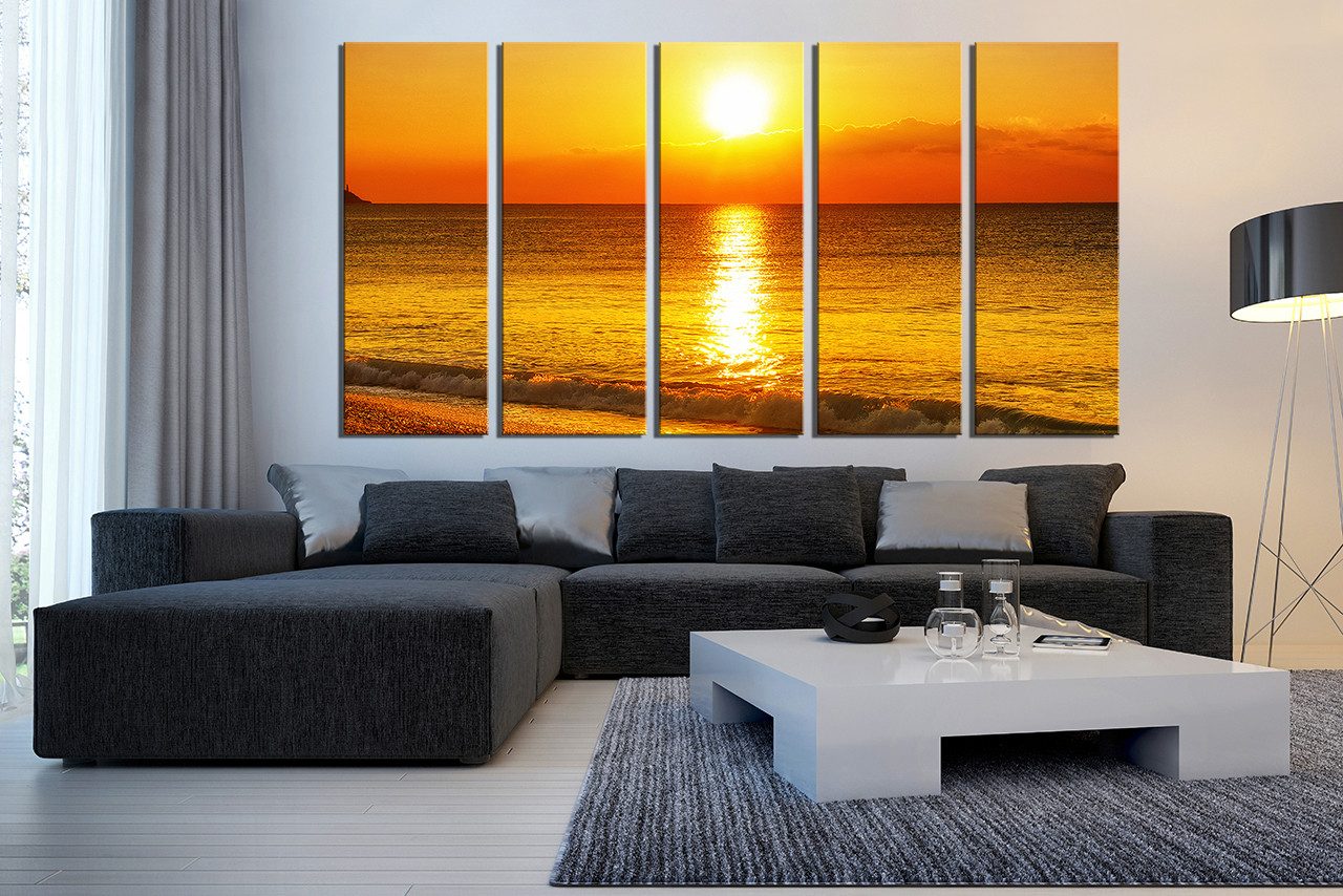 Charming Canvas For Living Room Wall Part - 13: 5 Piece Huge Canvas Print, Living Room Canvas Wall Art, Sunrise Large Canvas ,